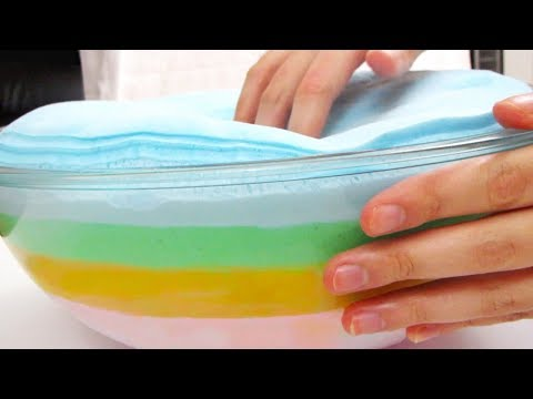 Making a 4-Layered DIY Rainbow Iceberg Slime! Looks like a Rainbow Cake 🌈