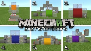 Minecraft - 6 Easy 2x2 PISTON DOORS [ Redstone Tutorial ] MCPE / Xbox / Bedrock