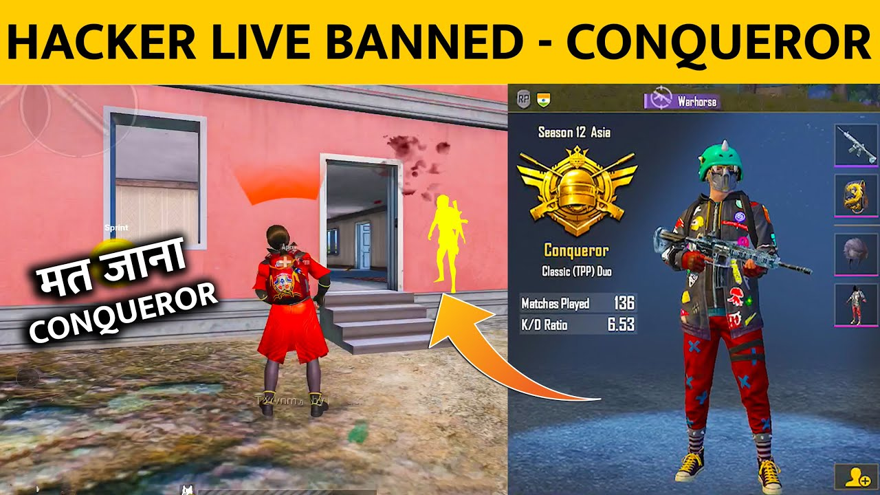 ?CONQUEROR HACKER BANNED LIVE IN PUBG MOBILE FOR SEASON 12 RANK PUSHING GAMEPLAY IN HINDI