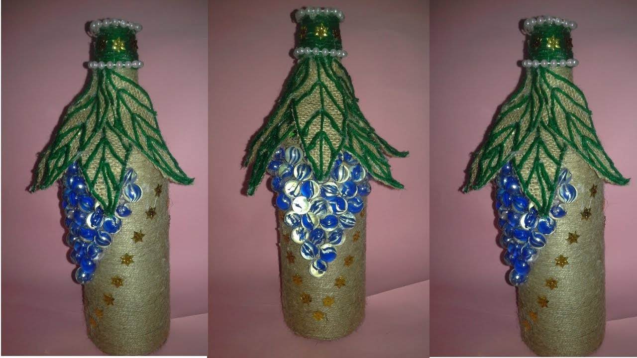 How To Decor Glass With Jute Jute Craft Idea Decorated Wine Bottle