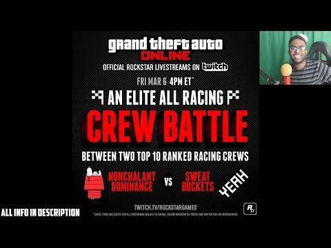 GTA 5 PS4 - Crew Battle Announcement On Rockstar Twitch! (NoDo Vs Sweat Buckets)
