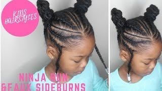 Ninja Buns and Faux Sideburns | Baby Toodler and Kids Hairstyles