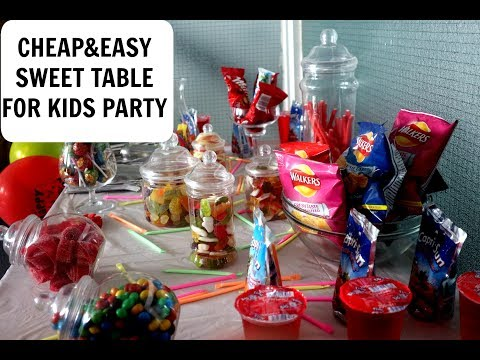 CHEAP AND EASY CHILDREN PARTY DECORATION /SWEET TABLE