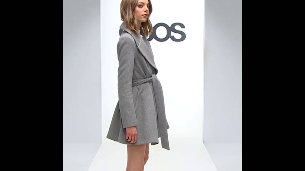 ASOS Skater Coat in Wool Blend With Oversized Collar and Self Belt ...
