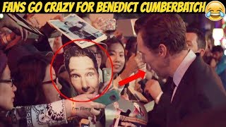Benedict Cumberbatch Laughs at a Fan Holding His Face Placard - This is Why People Love Him - 2017