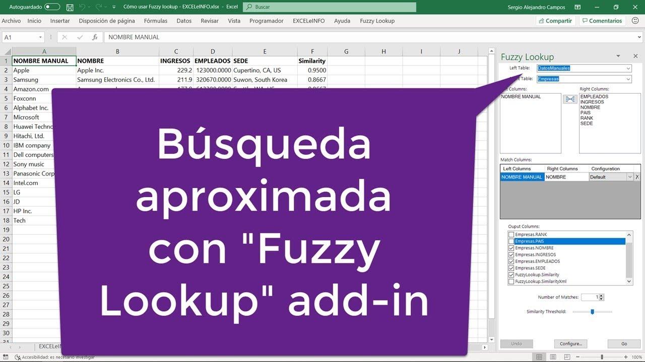 Cómo usar el add-in Fuzzy Lookup para Excel @EXCELeINFO