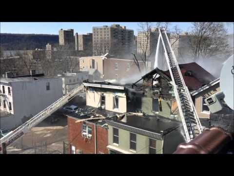 YONKERS FIRE DEPARTMENT BATTLING A 4TH ALARM FIRE ON HERRIOT STREET IN THE CITY OF YONKERS, NY.