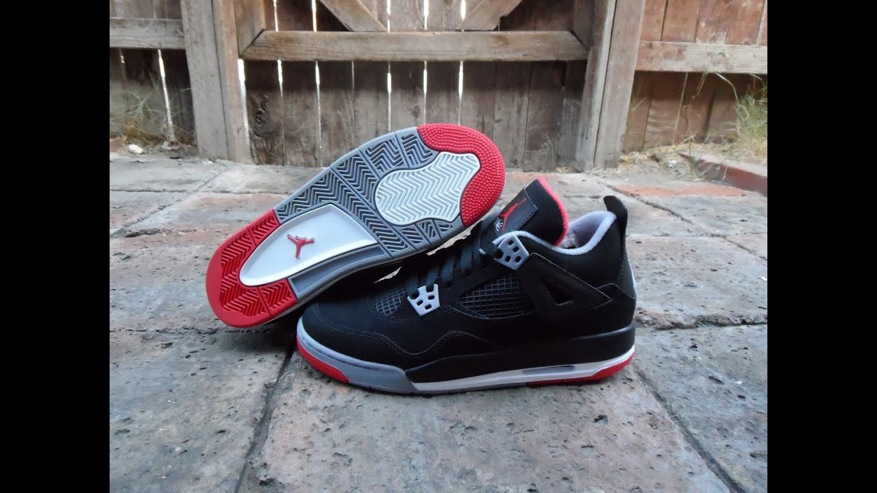 best sneakers b247f 98adf Air Jordan 4 s Bred Review GS Size