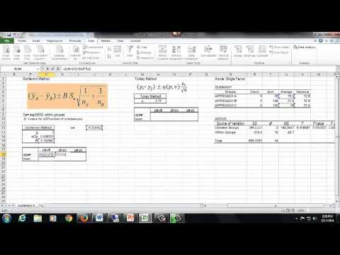 365, Ch 9, Single Factor Anova, Excel