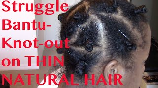 Bantu Knot-Out on THIN Natural Hair