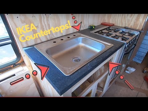 Bus To RV Conversion -58- Finished The Waste System And IKEA Countertops!