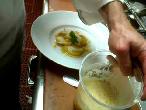 Chef Whitney tops Pumpkin Ravioli with Maple Foam