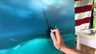 Best lesson. How to paint storm on the sea. How to paint sea waves
