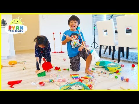 Ryan Emma and Kate Clean Up Pretend Play with Cleaning Toys for Kids!!!
