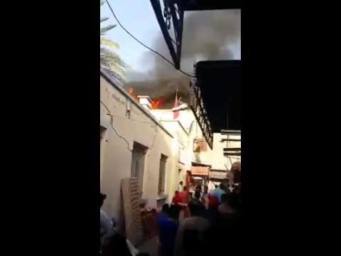الحريق الذي شب بالحي التجاري الخبازات مساء يوم 20l10l2014 فيديو جمعية تجار القنيطرة