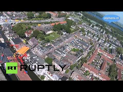 Netherlands: Drone shows crane collapse scene in Alphen aan den Rijn