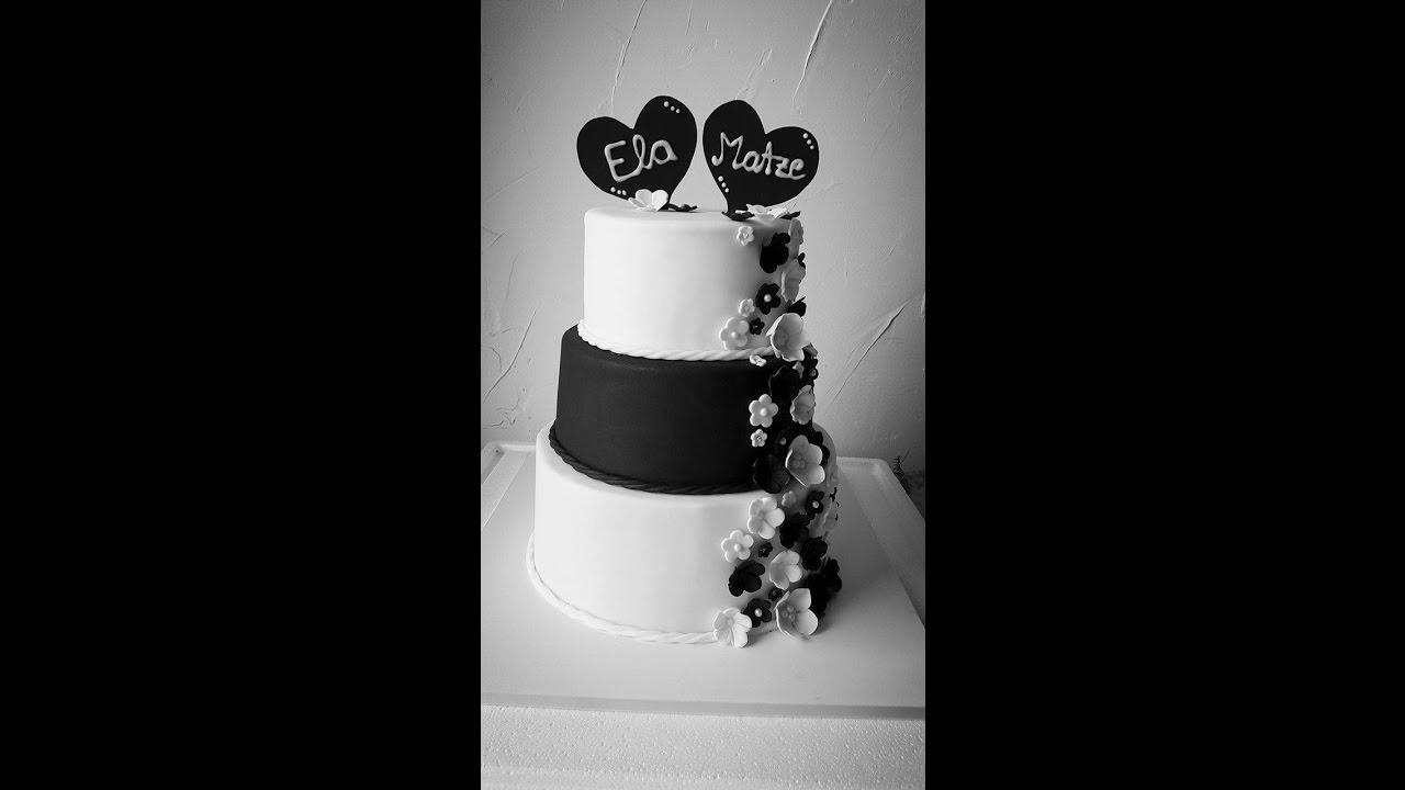 Einfache Hochzeitstorte Im Schnelldurchlauf Fondantblumen Schwarz