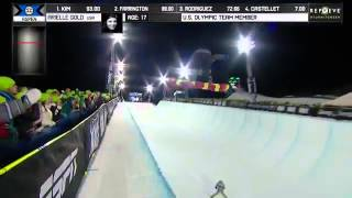Arielle Gold Run 1 Women's Snowboard SuperPipe final at X Games Aspen 2014