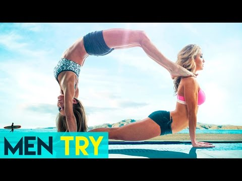 Men Try Acro Yoga