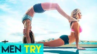 Men try acro yoga