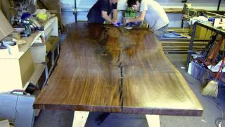 Finishing The Top Of The Massive Claro Walnut Live Edge Slab