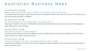 Business News Headlines for 17 Feb 2019 - 8 AM Edition