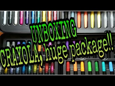 unboxing-a-huge-package-of-crayola-pens,-markers,-and-color-pencils.