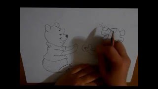Winnie the Pooh, Tigger and Piglet easy drawing for kids
