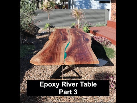 How to build an epoxy river table by connecting 2 large slabs (Part 3 final sanding and finish)