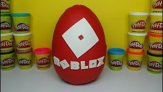Giant ROBLOX Play Doh Surprise Egg Unboxing MINECRAFT Surprise Box Roblox Blind Bags Figures & Toys