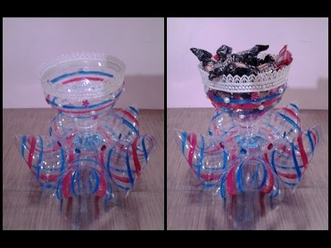 Best out of waste plastic decorative candy cup youtube for Best out of plastic