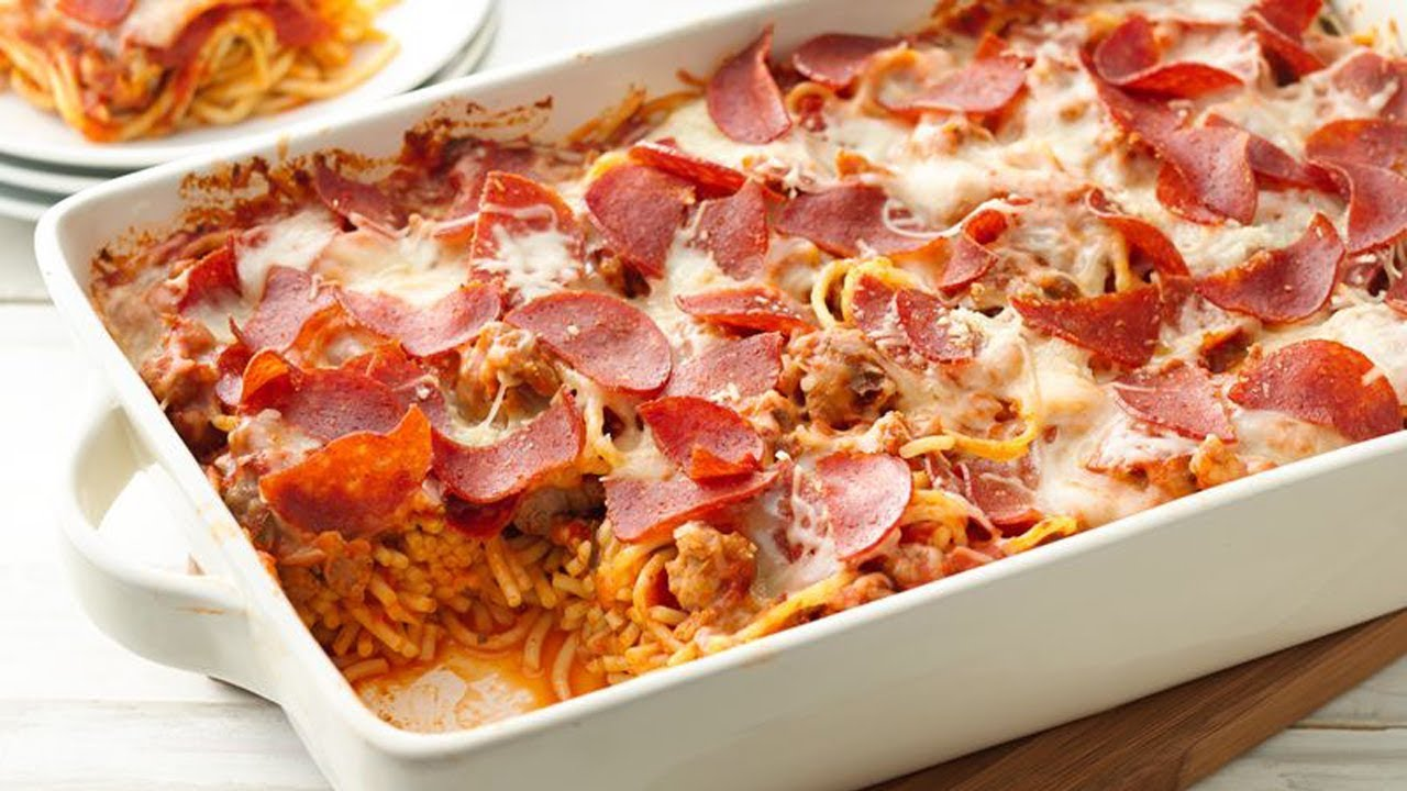 pepperoni pasta casserole bake dinner sausage recipes easy spaghetti pillsbury recipe pizza cheese turkey lasagna tonight pork baked homemade italian