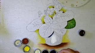 Roberto Ferreira – Aprenda a Pintar em tecido Vaso e folhas de Violetas