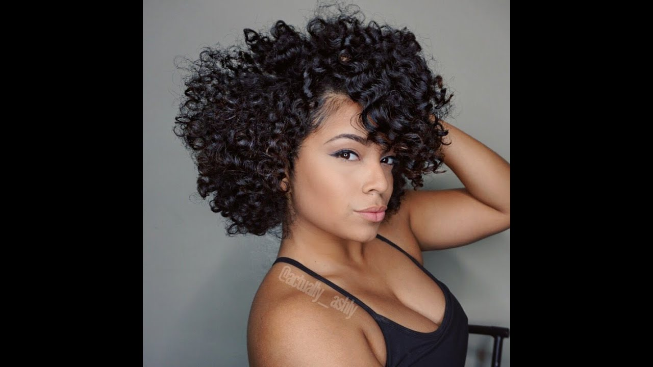 Crochet Hair Styles For Round Faces : Braid and Curl Natural Hair Style - YouTube
