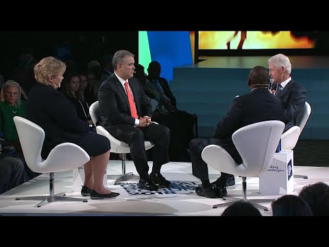 Bill Clinton Discusses Trade with Leaders of Colombia, Norway, and South Africa