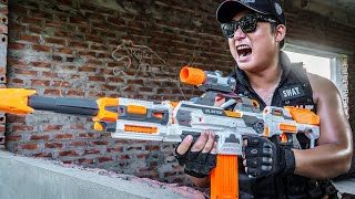 LTT Nerf Mod : TOP 1 Hour Patrol Police SEAL MARINES Nerf Guns Fight Crime RED SATAN Mask