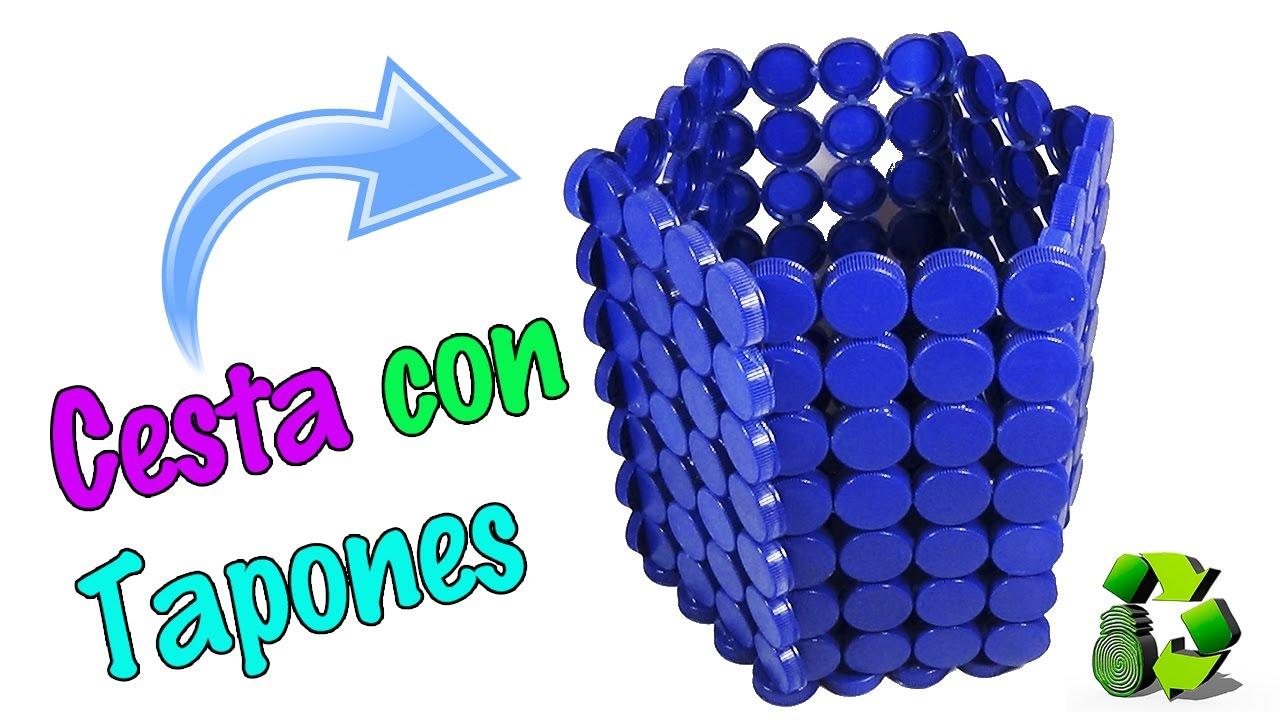 Cesta con tapas o tapones de pl stico reciclaje ecobrisa for Ideas creativas para el hogar