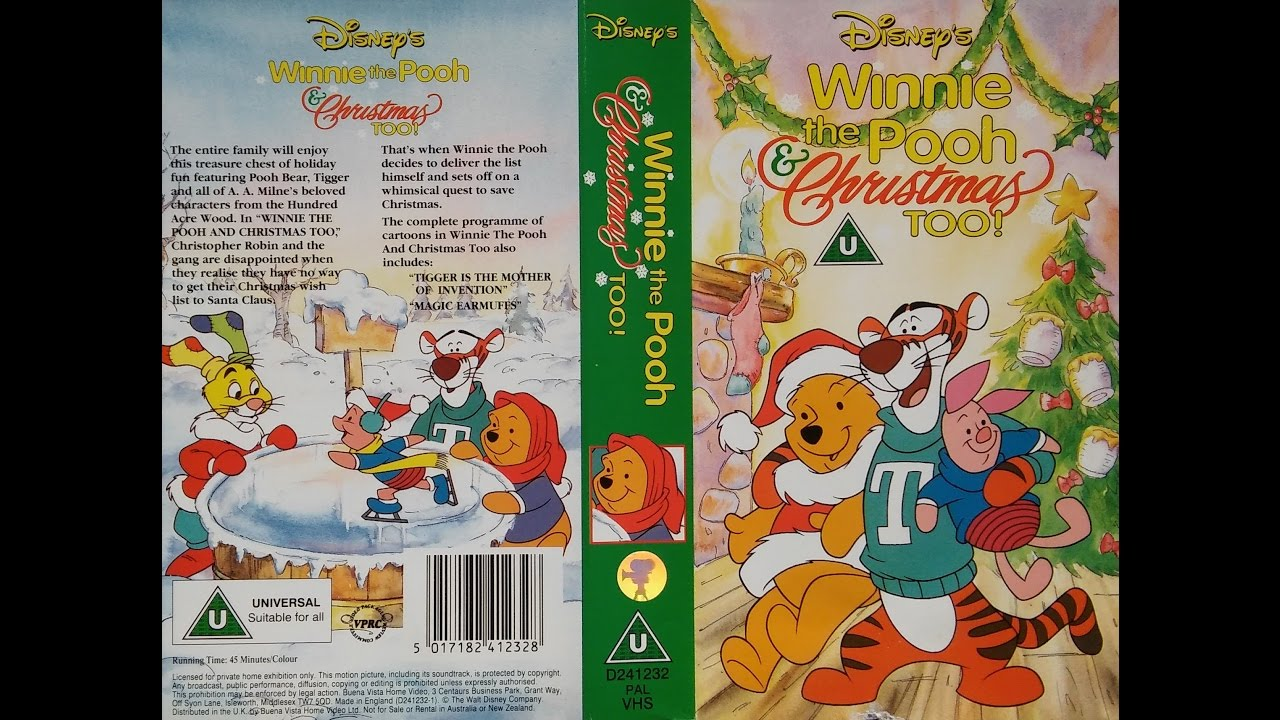 Winnie The Pooh And Christmas Too.Opening Of Winnie The Pooh Christmas Too 1992 Uk Vhs