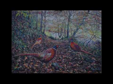 Autumn Pheasants - Oils over Acrylics