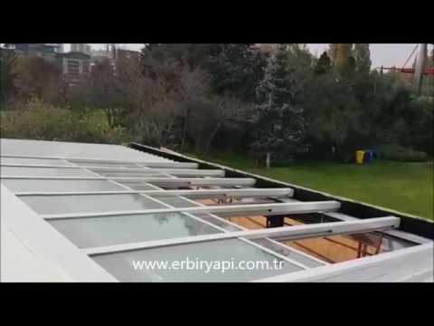 ERBİR YAPI, cafe restaurant retractable glass roof, retractable roof