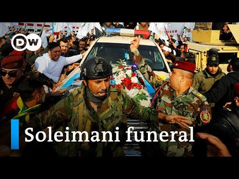 Thousands chant 'death to America' at Soleimani funeral in B