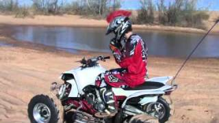 YFZ450 ATV water skipping at Little Sahara OK Kyle Patterson