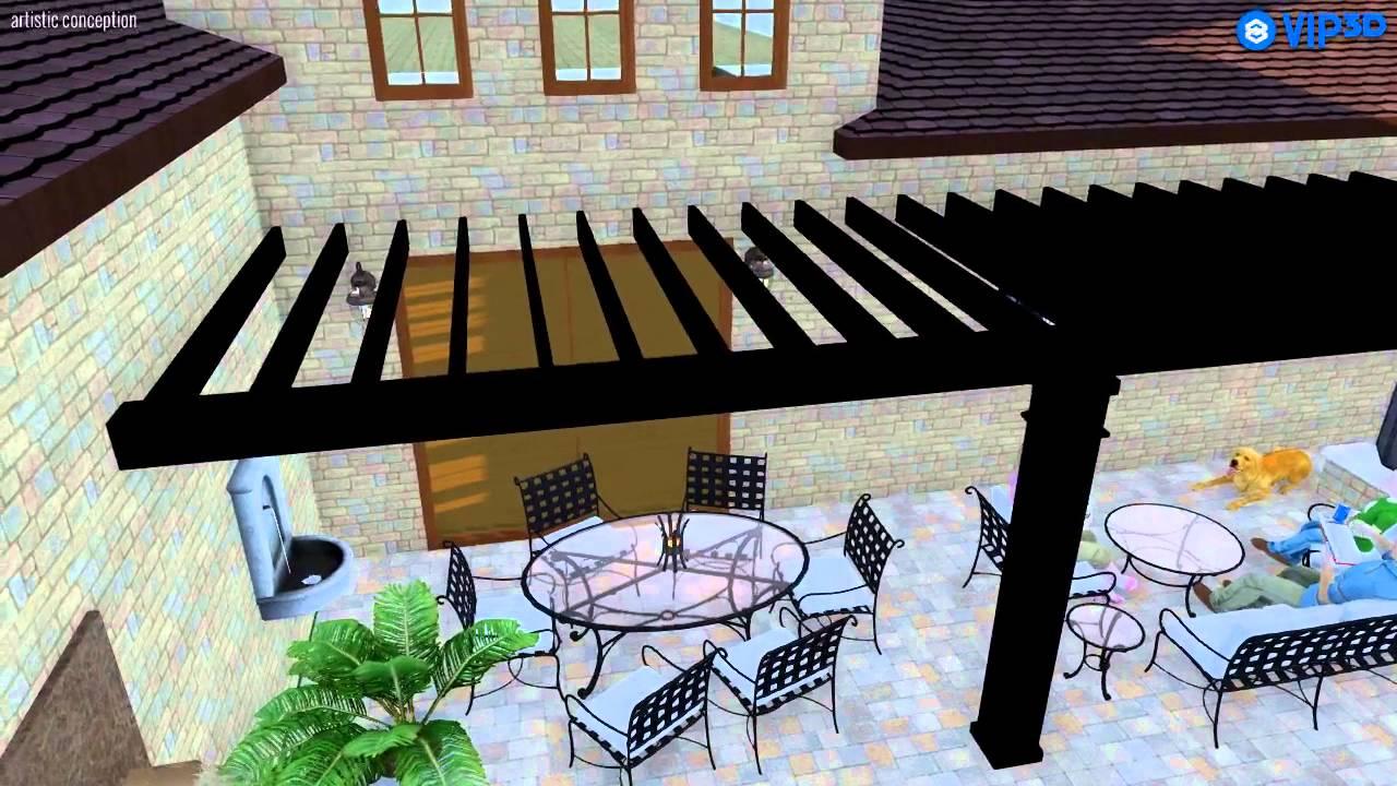 modern style pergola 28x8 corner attached youtube. Black Bedroom Furniture Sets. Home Design Ideas