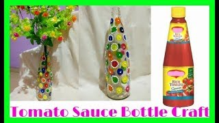Wastage Tomato Sauce Bottle Flower Pot.Using Nail Polish