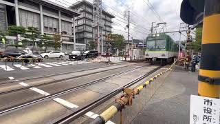京阪石山坂本線600系石山寺行き発車 大津市役所前駅
