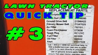 Lawn Tractor Quick Tip #3 - Parts Label
