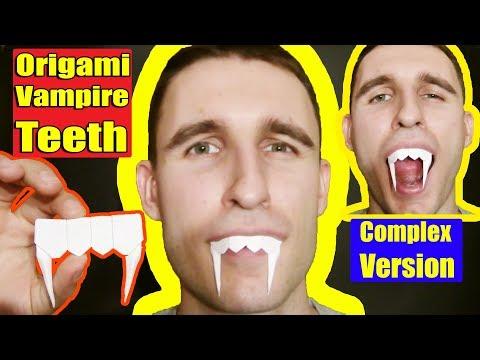 Halloween Origami Vampire Teeth by Yakomoga (Complex version) - Yakomoga Origami tutorial