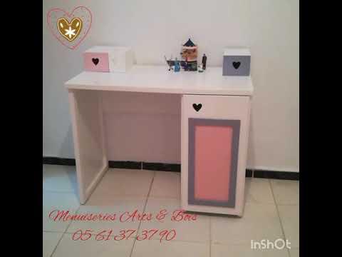 Chambre pour fille, rose pâle & gris pâle, by Arts&Bois ...