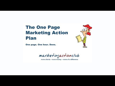 One Page Marketing Action Plan