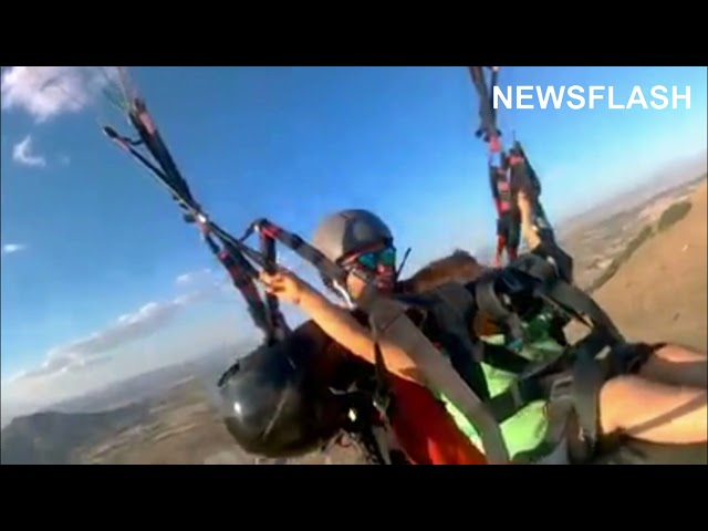 Dad Lets Son, 4, Take Charge Of The Paraglider